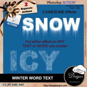 Winter Word Text - ACTION by Boop Designs
