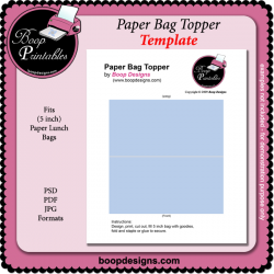 Paper Bag Topper TEMPLATE by Boop Designs