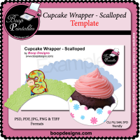 Cupcake Wrapper Scalloped TEMPLATE by Boop Designs