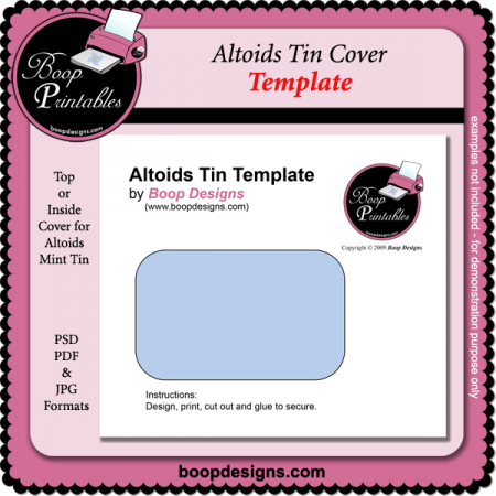 Altoids Tin Cover Template Boop Printable Designs Altoids