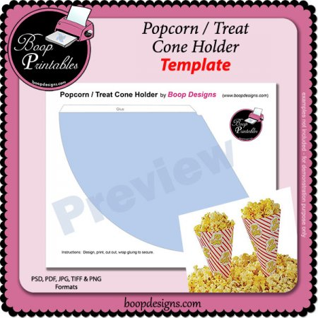 Printable Popcorn Cupcake Wrappers Template
