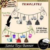 Santa Toy Banner TEMPLATE by Boop Designs