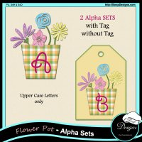 Flower Pot with Tag Alphas by Boop Designs