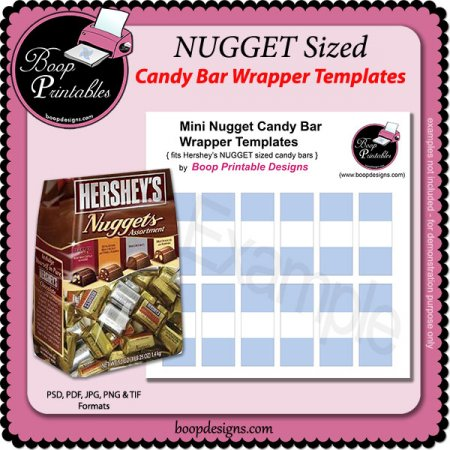 Nugget mini candy bar wraps by boop printable designs bd for Free mini candy bar wrapper template