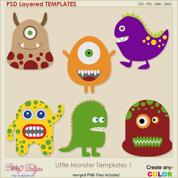 moster templates - new products boop designs digital graphic art for scrap