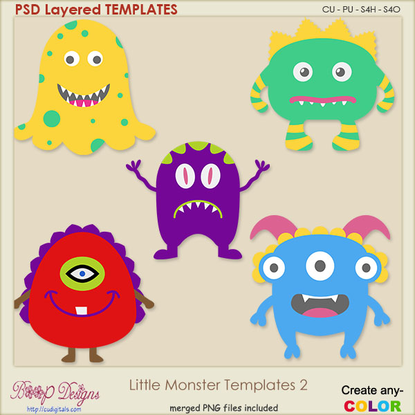 Little Monsters Layered TEMPLATES 2
