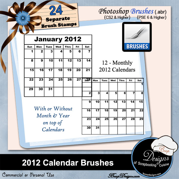 2012 Calendar Brushes by Boop Designs