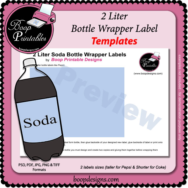 2 Liter Soda Bottle Wrapper Label TEMPLATES by Boop Printables