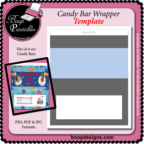 Candy Bar Wrapper (4.4 oz) - TEMPLATE by Boop Printable Designs