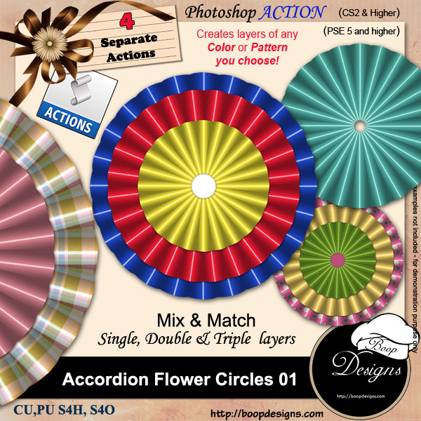 Accordion Folded Flower Circles 01 by Boop Designs