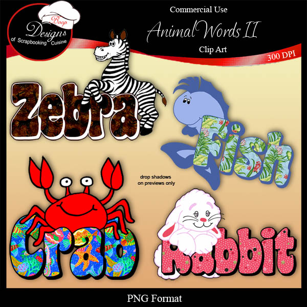 Animal Words II - CU Clipart by Boop Designs