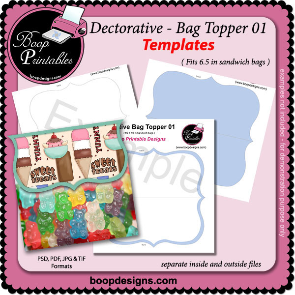 Decorative Bag Topper 01 TEMPLATE by Boop Printable Designs