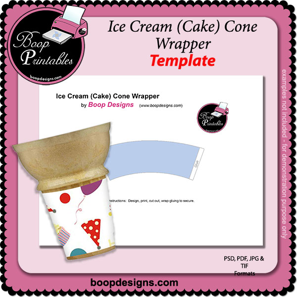 Ice Cream Cake Cone TEMPLATE Wrapper by Boop Printable Designs