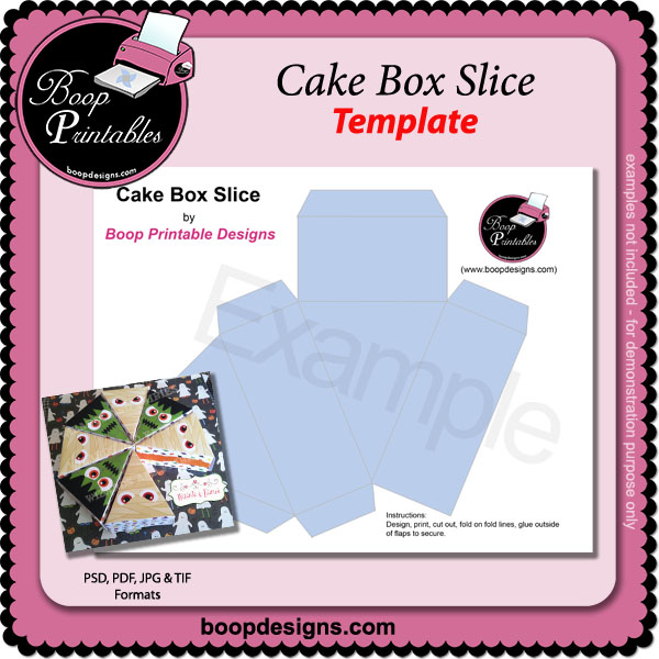 Cake Treat Box Slice TEMPLATE by Boop Printables