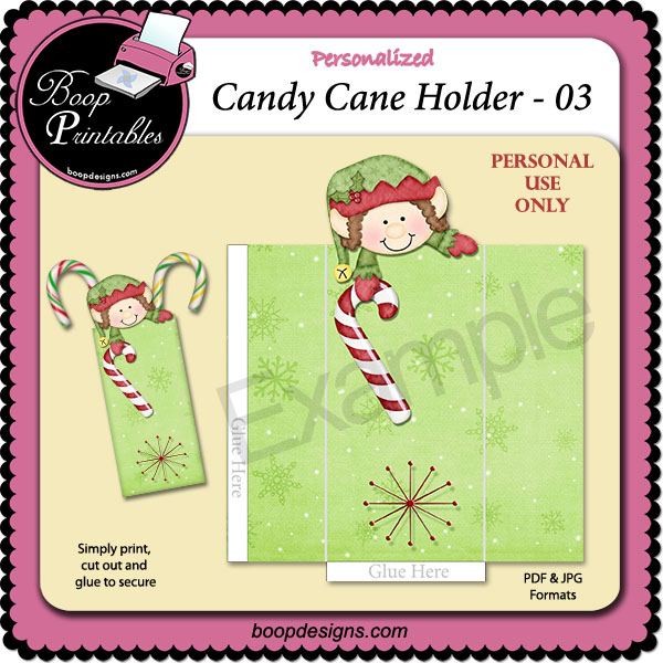 Holiday Candy Cane Holder 03 by Boop Printable Designs