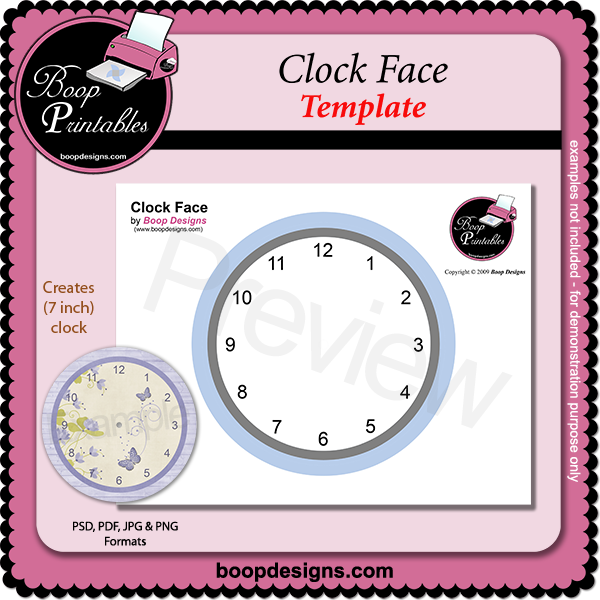 Clock Face TEMPLATE by Boop Printable Designs