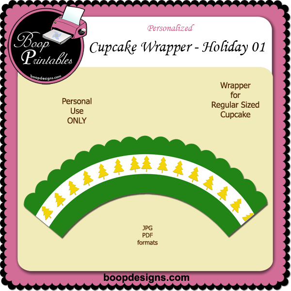 Holiday Cupcake Wrapper 01 by Boop Printable Designs