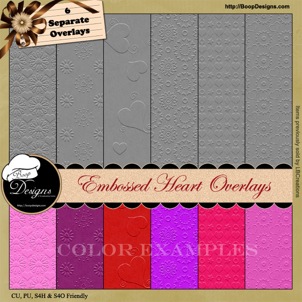 Embossed Heart Overlay Papers by Boop Designs