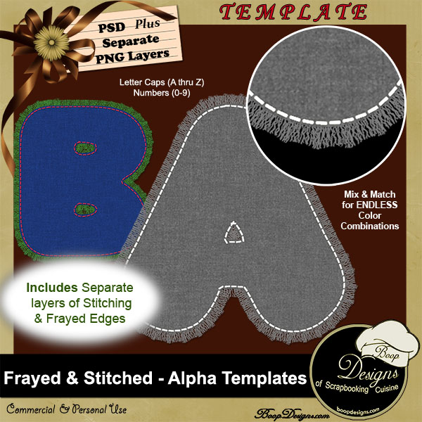 Frayed & Stitched Alpha TEMPLATE by Boop Designs
