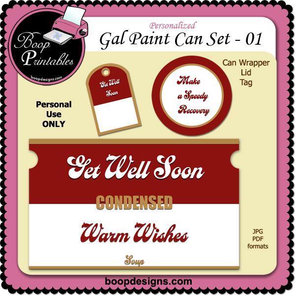 Gallon Paint Can Set Get Well 01 by Boop Printable Designs