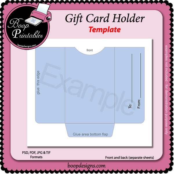 Gift Card Holder TEMPLATE by Boop Printable Designs