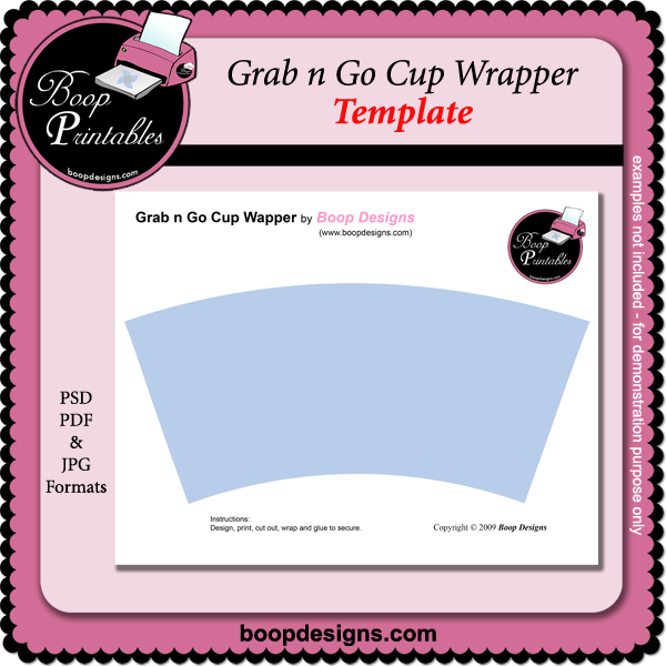 Grab n Go Cup Wrapper TEMPLATE by Boop Design