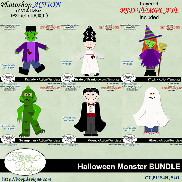 Monster Action - Template BUNDLE by Boop Designs