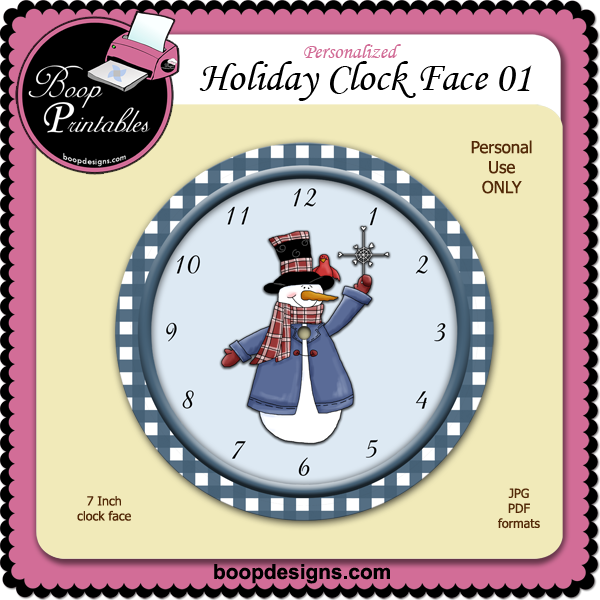 Holiday Clock Face 01 by Boop Printable Designs