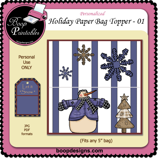 Holiday Paper Bag Topper 01 by Boop Printable Designs