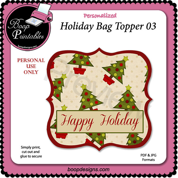 Holiday Bag Topper 03 by Boop Printable Designs