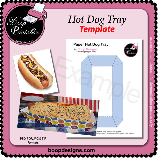 Hot Dog Tray TEMPLATE by Boop Printabables