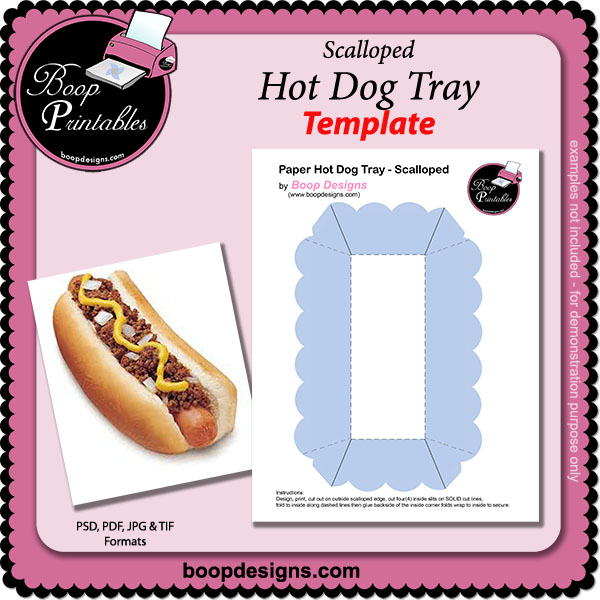 Hot Dog Tray - scalloped TEMPLATE by Boop Printab