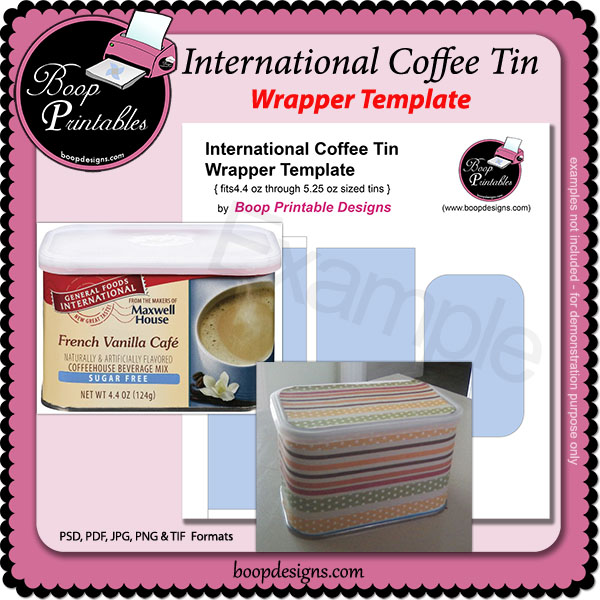 International Coffee Tin TEMPLATE Wrap by Boop Printable Designs