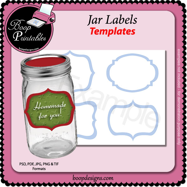 Jar Labels TEMPLATES by Boop Printable Designs