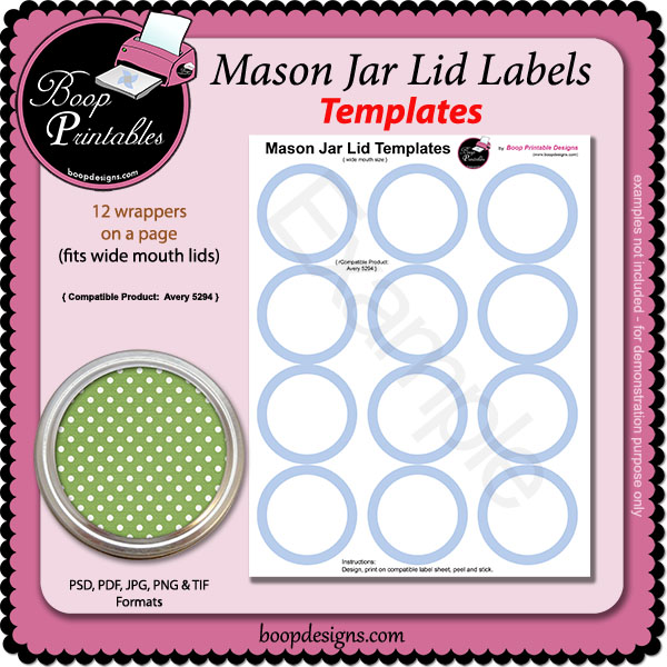 Jar Lid Label TEMPLATE - 5294 by Boop Printable Designs