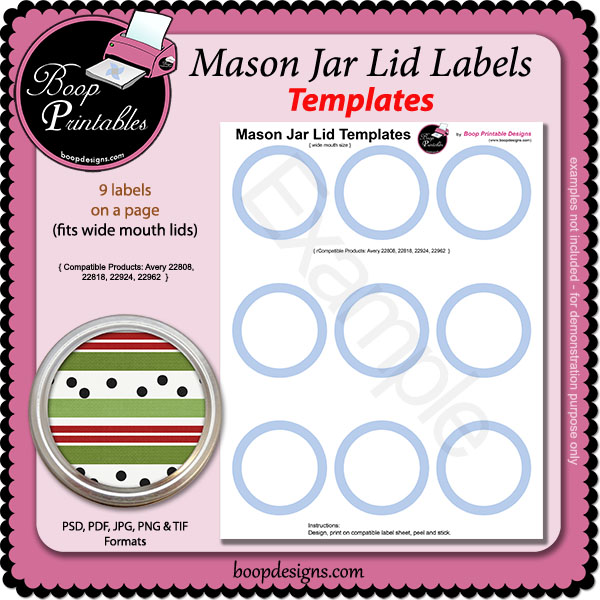 Jar Lid Label TEMPLATE - wm2 by Boop Printable Designs