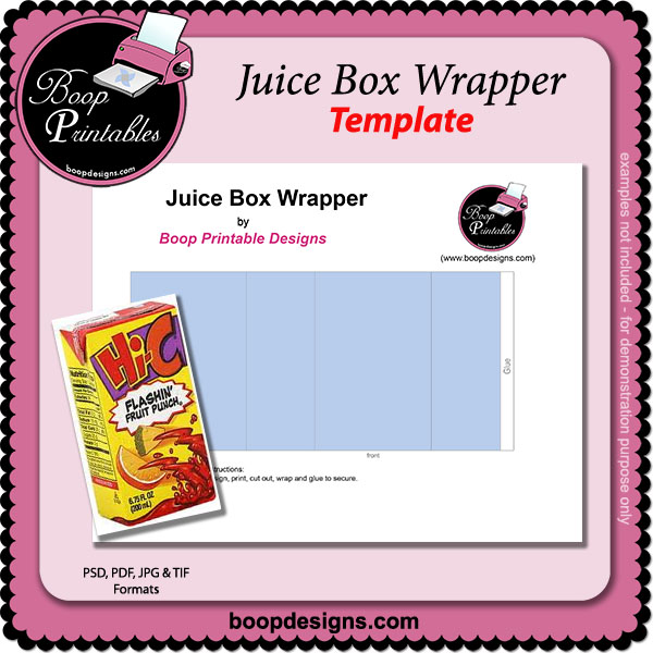Juice Box TEMPLATE Wrappers by Boop Printable Designs