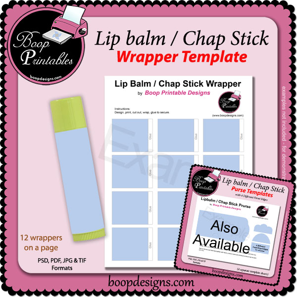 Lip Balm / Chap Stick Wrapper Printable TEMPLATE by Boop Printables