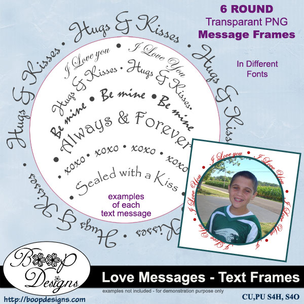 Love Messages - Text Frames by Boop Designs
