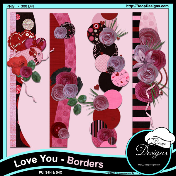 Love You Page Borders by Boops Designs