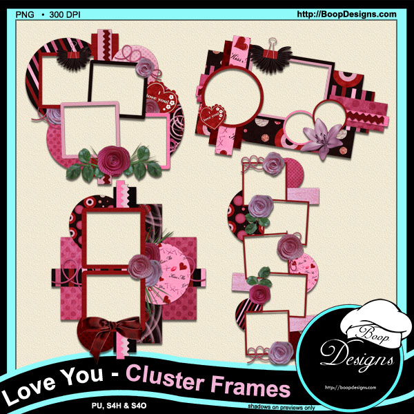 Love You Cluster Frames by Boops Designs