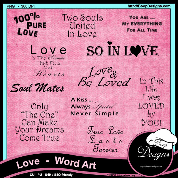 Love Word Art by Boop Designs