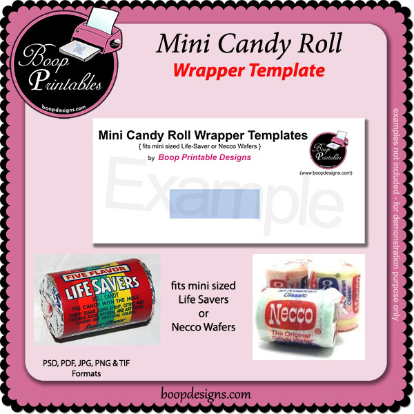 Mini Sized Candy Roll TEMPLATE Wrap by Boop Printable Designs