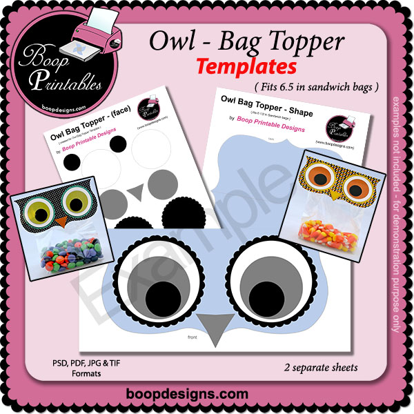Owl Bag Topper TEMPLATE by Boop Printable Designs