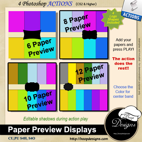 Paper Display Previews by Boop Designs