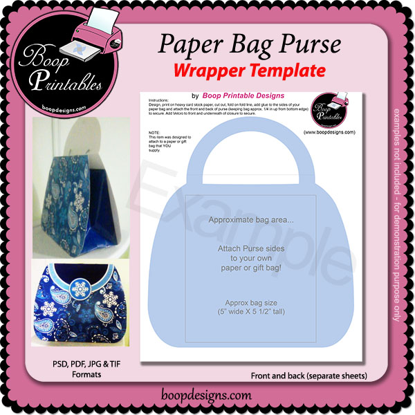 Paper Bag Purse TEMPLATES by Boop Printable Designs