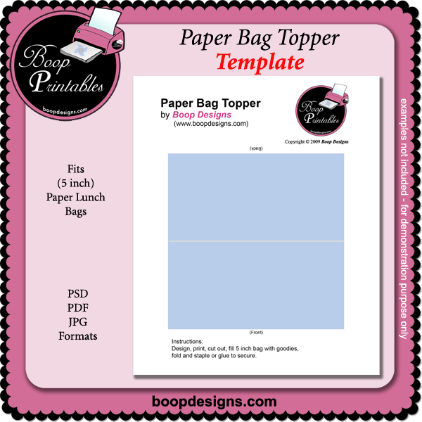 Paper Bag Topper TEMPLATE by Boop Printable Designs