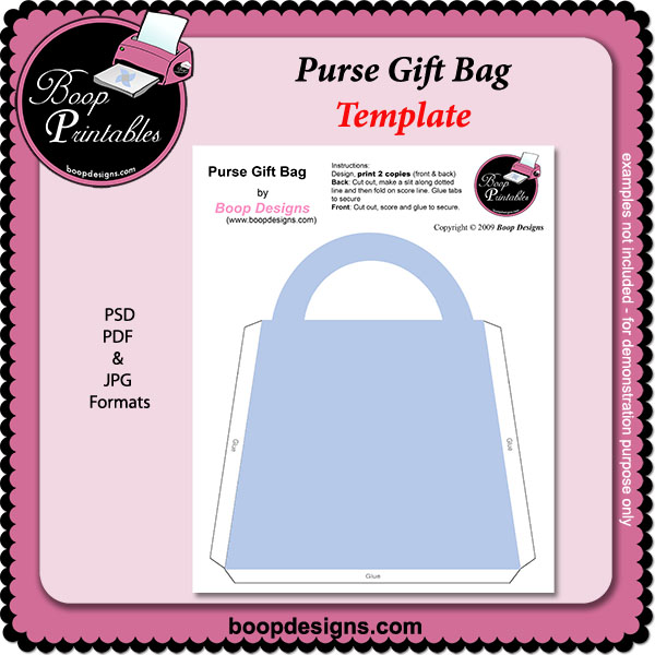 Purse Gift Bag TEMPLATE by Boop Printable Designs