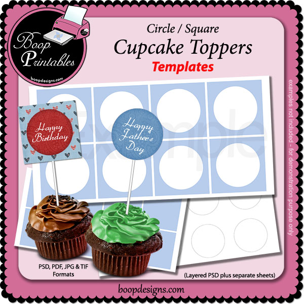 Cupcake Topper TEMPLATEs - round-square by Boop Printable