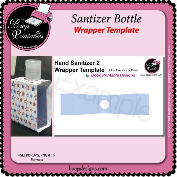 Santizer Bottle TEMPLATE Wraps by Boop Printable Designs